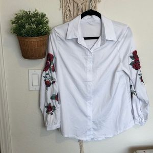 Embroidered long sleeve button down blouse